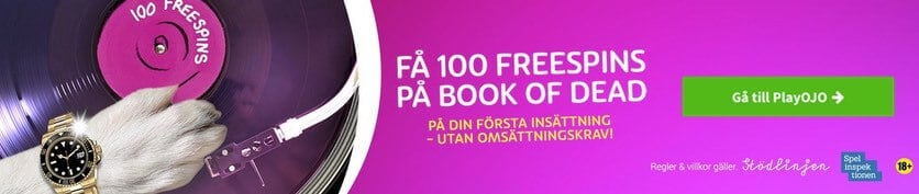 100 free spins på Book of dead hos PlayOJO casino